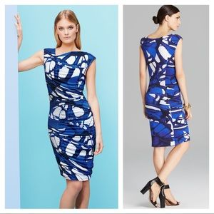 Escada asymmetrical ruched butterfly print dress